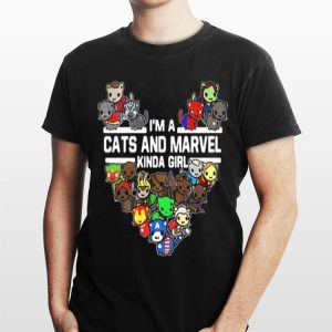 I'm A Cats And Marvel Kinda Girl Marvel Avengers Endgame shirt