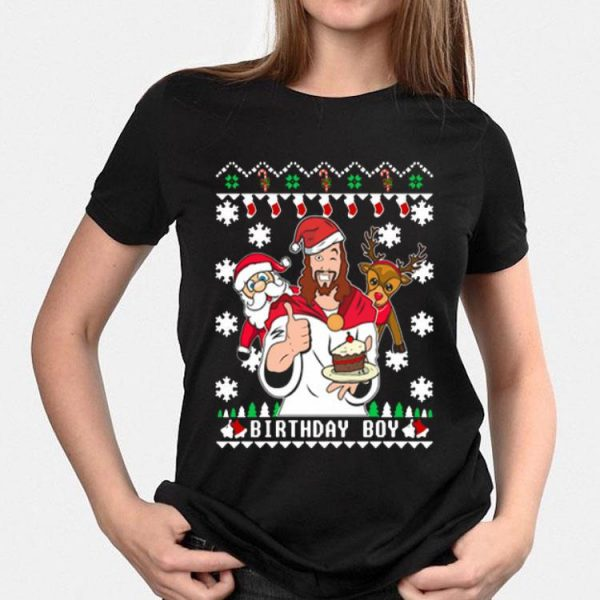 Jesus Santa And Reindeer Birthday Boy shirt