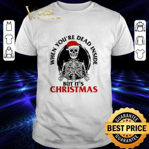 Pretty Skeleton santa when you're dead inside but it's Christmas shirt