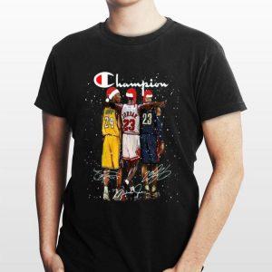 Santa LeBron James Kobe Bryant Michael Jordan Champion Christmas shirt