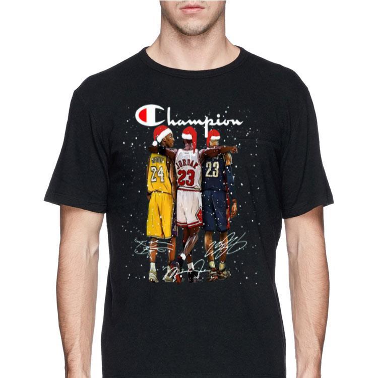 Santa LeBron James Kobe Bryant Michael Jordan Champion Christmas shirt, hoodie, sweater, longsleeve t shirt