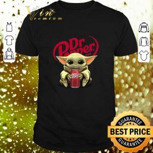 Awesome Baby Yoda hug Dr Pepper Star Wars Mandalorian shirt