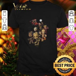 Awesome Rocket Raccoon riding Baby Groots reindeer Christmas shirt