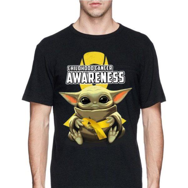 Baby Yoda Hug Childhood Cancer Awareness shirt