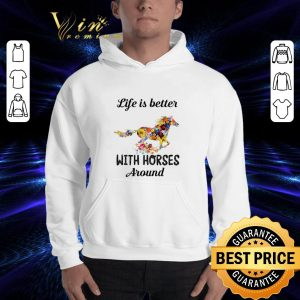 Pretty Flower life is better with horses around shirt 2