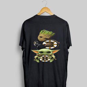 Baby Yoda and Baby Groot hug Boston Bruins shirt