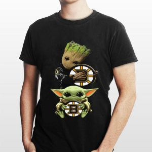 Baby Yoda and Baby Groot hug Boston Bruins shirt