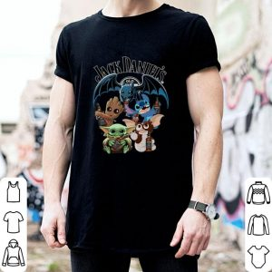 Jack Daniel's Baby Yoda Baby Groot and Toothless Stitch Gizmo shirt