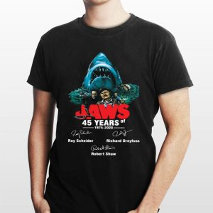 Jaws 45 years of 1975 2020 signatures shirt