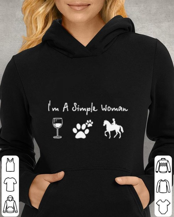 Riding horse wine dog i'm a simple woman shirt