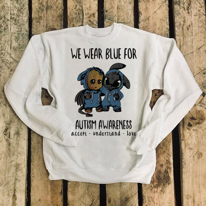 Baby Groot and Toothless We wear blue for Autism Awareness shirt 4 - Baby Groot and Toothless We wear blue for Autism Awareness shirt