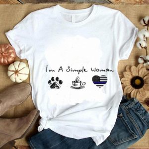 I'm a simple woman paw dog coffee Thin blue line Heart Police shirt