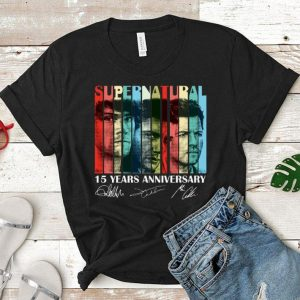 Vintage Supernatural 15 years anniversary signatures shirt