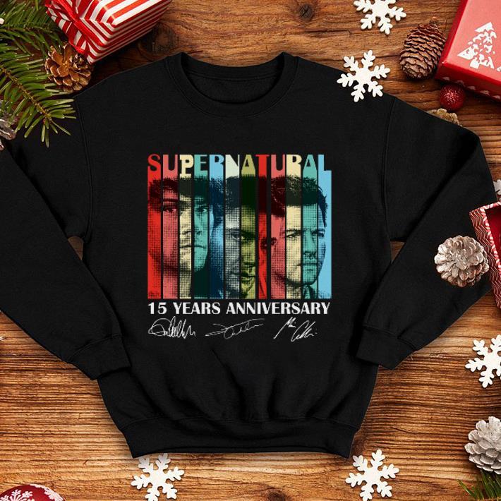 dea82f28094 Vintage Supernatural 15 years anniversary signatures shirt, hoodie ...