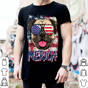 American Flag Pug Dog Merica American Sunglasses 4th Of July shirt