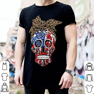 American Flag Skull With Leopard Headband 4th Of July shirt