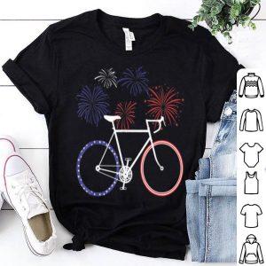 Bike American Flag Cycling Firework 4th Of July shirt