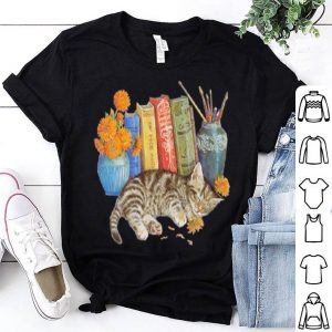 Books and cat sleep vintage shirt