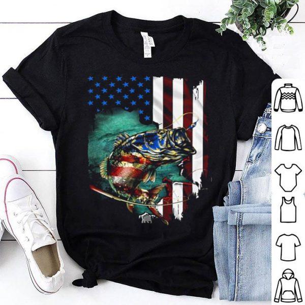 Fishing roid American flag 4th of july shirt