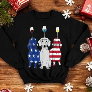 Happy Independence Day Wine Dog American Flag shirt