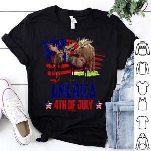 Moose Patriotic American America 4th Of July American Flag shirt