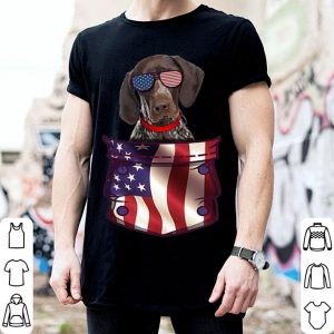 Pointer German Shorthaired Pocket US 4th July American Flag shirt