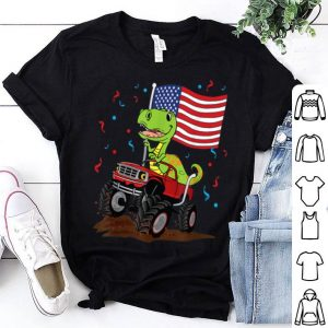 USA America Flag 4th Of July T-Rex Dinosaur Monster Truck shirt