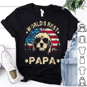 World Best Doodle Papa American Flag 4th Of July shirt