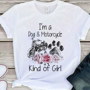 Flower I'm a dog and motorcycle kind of girl shirt
