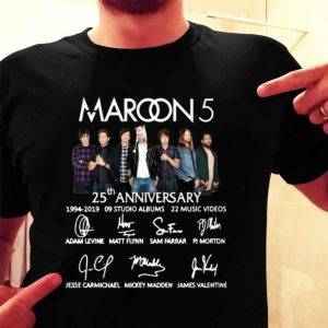 Maroon 5 25th anniversary signatures shirt
