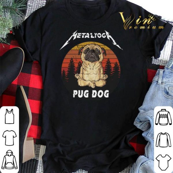 Sunset Metallica Metalyoga pug dog shirt
