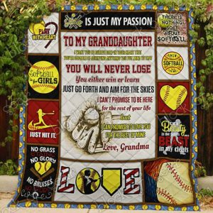 To my granddaughter grandma Softball play with heart quilt blanket