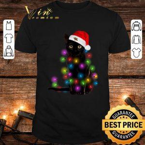 Black cat Christmas lights shirt