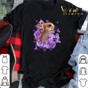 Chihuahua purple flowers shirt sweater