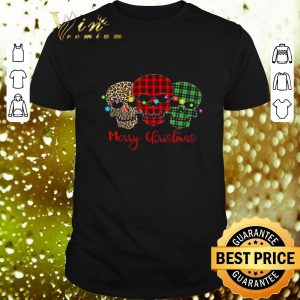 Cool Skull Merry Christmas Leopard Pattern Plaid shirt