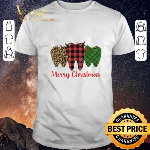 Funny Merry Christmas Leopard Plaid Teeth With Lights Dentist shirt sweater