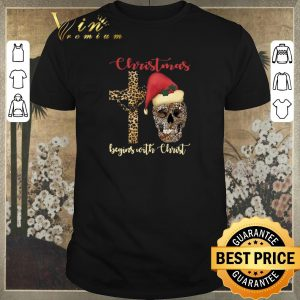 Hot Skull leopard Christmas Begins with Christ shirt sweater
