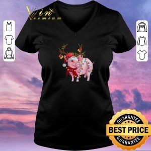 Nice Christmas Lights Pig Santa reindeer shirt 1