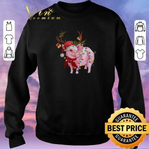 Nice Christmas Lights Pig Santa reindeer shirt 2