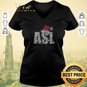 Premium Glitter ASL Santa hat Christmas shirt sweater 1