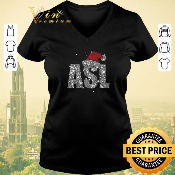 Premium Glitter ASL Santa hat Christmas shirt sweater