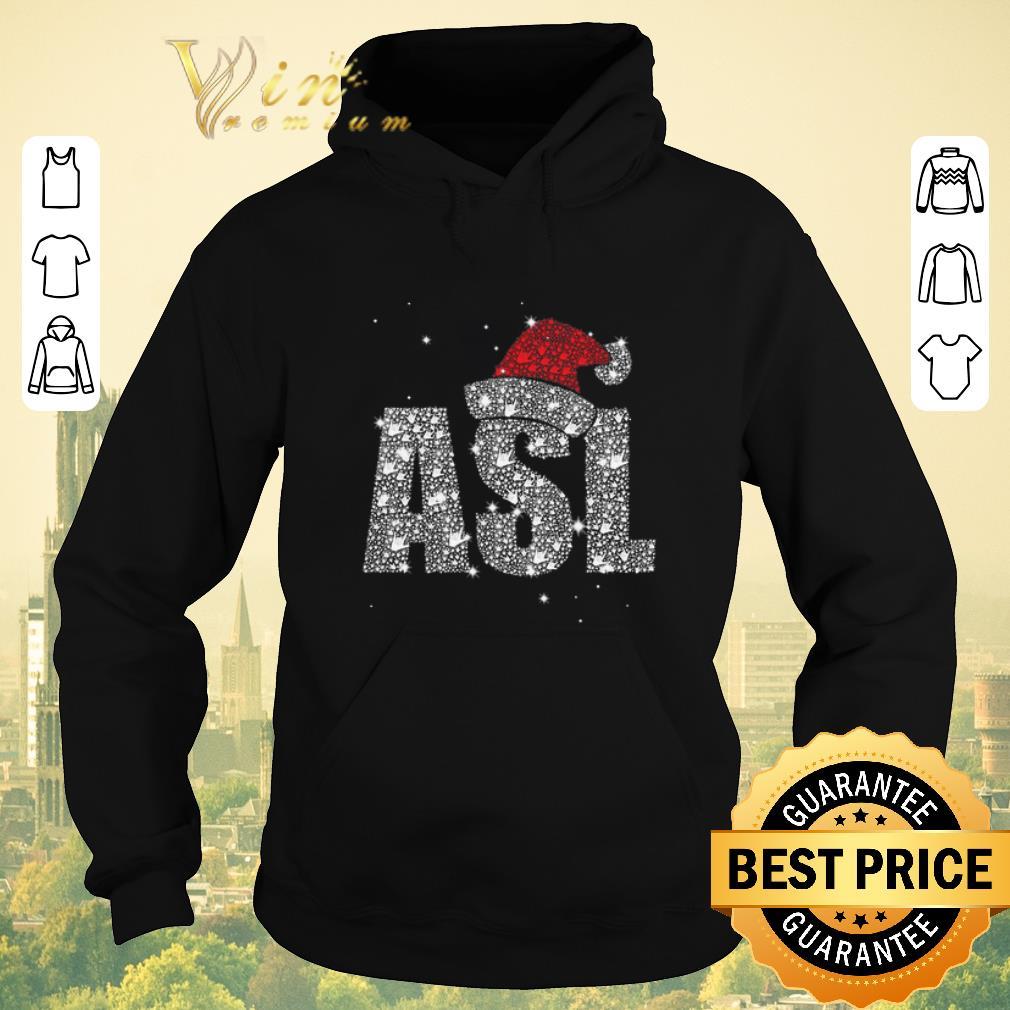 Premium Glitter ASL Santa hat Christmas shirt sweater 4 - Premium Glitter ASL Santa hat Christmas shirt sweater