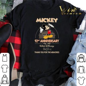 Thank you for the memories Mickey 92nd anniversary 1928-2020 shirt