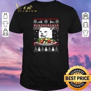 Top Angry Women Yelling at Confused Cat at Dinner Table Meme Ugly Christmas shirt sweater