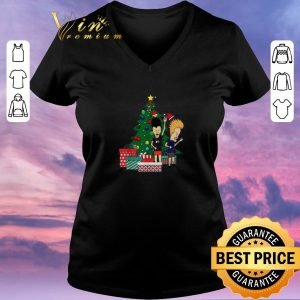 Top Beavis and Butthead around the Christmas tree ugly shirt sweater