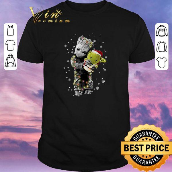 Awesome Baby Groot hugging baby Yoda Christmas shirt sweater
