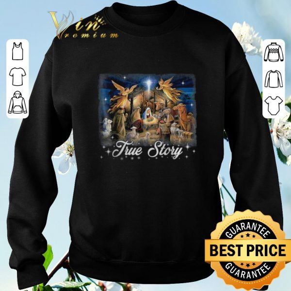 Nice Baby Jesus in a manger true story Christmas shirt sweater
