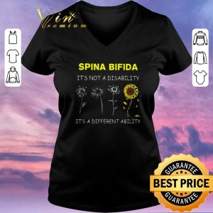 Nice Sunflower Spina bifida it's not a disability it's a different ability shirt