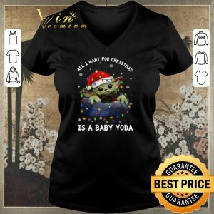 Pretty All i want for Christmas lights is a baby Yoda Santa hat shirt sweater