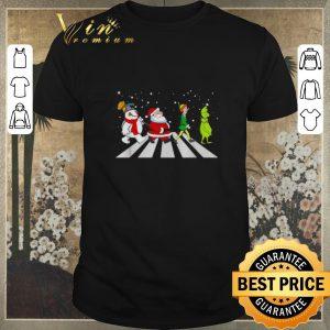Top Christmas Santa Elf Grinch Abbey Road characters shirt